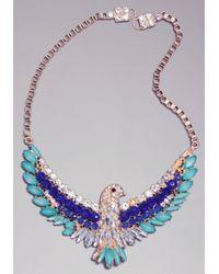 Bebe - Blue Crystal Bird Necklace - Lyst