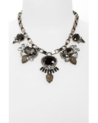 Cara | Black Stone Frontal Necklace | Lyst