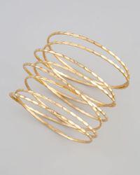 Chamak by Priya Kakkar | Metallic Golden Stacked Spiral Bracelet | Lyst