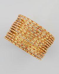 Chamak by Priya Kakkar Metallic Set Of 12 Thin Scored Glitter Bangles Orangegold