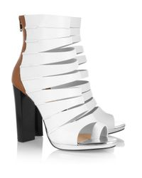 Christian Louboutin White Decoupata 120 Colorblock Leather Ankle Boots