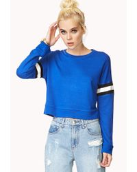 Forever 21 - Blue Jersey Striped Crop Top - Lyst