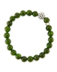 Lagos | Green Caviarball Diopside Beaded Stretch Bracelet | Lyst