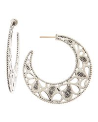 Lagos - Metallic Carved Caviar Beaded Hoop Earrings - Lyst