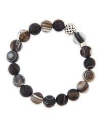 Lagos Brown Caviarball Black Agate Beaded Stretch Bracelet
