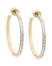 Michael Kors Metallic Goldtone Swarovski Elements Hoop Earrings