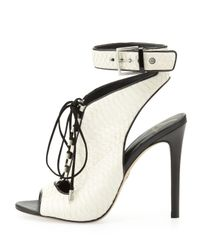 B Brian Atwood | Black Lodosa Lace-Up Snake Sandal | Lyst