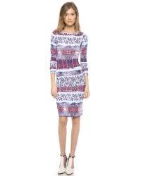 BCBGMAXAZRIA | Blue Dolman Woven Border Dress | Lyst