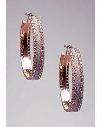 Bebe Metallic Glitter & Rhinestone Hoops