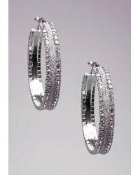 Bebe | Metallic Glitter & Rhinestone Hoops | Lyst