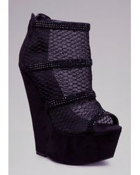 Bebe Black Yazmin Mesh Wedge