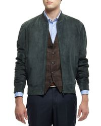 Brunello Cucinelli - Green Suede Bomber Jacket for Men - Lyst