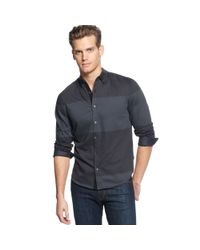 Calvin Klein - Gray Long Sleeve Jacquard Colorblock Shirt for Men - Lyst