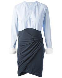 Carven Blue Twisted Skirt Shirt Dress