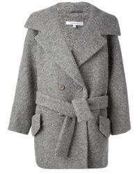 Carven Gray Boxy Belted Jacket
