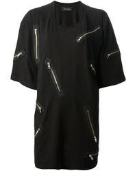 Daniel Palillo Black Zipper Oversize T-Shirt