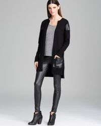 DKNY - Black Cardigan with Faux Leather Detail - Lyst