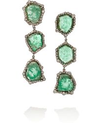 Kimberly Mcdonald Gray 18-Karat Blackened White Gold, Emerald And Diamond Earrings