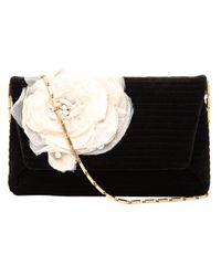 Lanvin Black Ribbed Velvet Clutch Bag