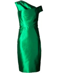 Lela Rose Green Asymmetrical V-Neck Dress