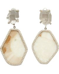 Monique Pean Atelier Gray Pave Diamond Fossilized Walrus Ivory Hexagonal Drop Earrings