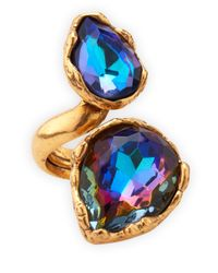 Oscar de la Renta | Blue Large Crystal Teardrop Ring Indigo | Lyst