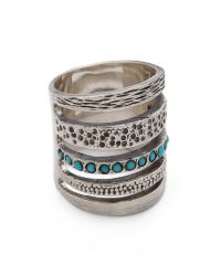 Pamela Love Green Single Cage Ring With Turquoise - Silver/Turquoise