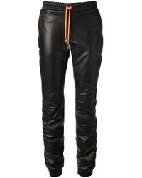 Philipp Plein Black Drawstring Leather Trousers