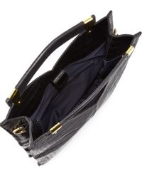 French Connection Black Buckle Up Crocodileembossed Tote Bag