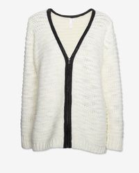 Shae | White Leather Trim Zip Cardi | Lyst