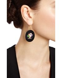 Simon Teakle - Black Antique Pietra Dura Earrings with Inlay Of Multi Stone Butterfly - Lyst