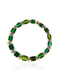 Simon Teakle - Green Tourmaline and Diamond Single Line Bracelet - Lyst