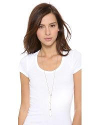 Alexis Bittar - Metallic Lariat Sabre Tooth Pendant Necklace Goldclear - Lyst