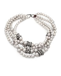 Alexis Bittar White Shell Pearl Multistrand Necklace for men