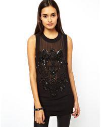 ASOS Black Top In Sheer Fabric And Motif Embellishment
