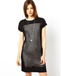 ASOS Gray T-shirt Dress With Laser Cut Squares