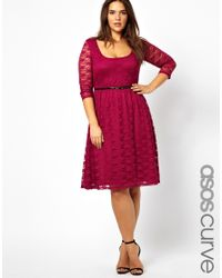ASOS | Purple Exclusive Midi Dress In Lace With Belt | Lyst