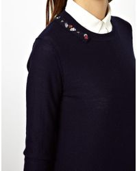 ASOS | Black Sonia By Sonia Rykiel Lambswool Sweater with Jewel Stone Embellishment | Lyst