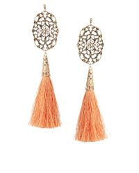 ASOS Orange Filigree Tassel Earrings