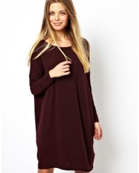ASOS Purple T-Shirt Dress In Nepi With Long Sleeve