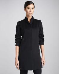 Fleurette - Black Hiddenplacket Backpleat Wool Coat - Lyst