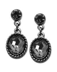 Guess Hematitetone Black Diamond Stone Drop Earrings