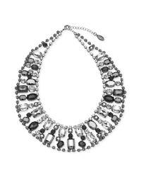Guess | Metallic Hematitetone Crystal Stone Bib Necklace | Lyst