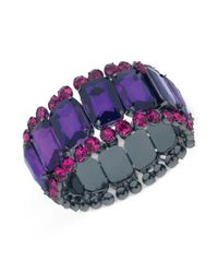 Guess | Purple Hematitetone Dark Plum Stone And Fuchsia Crystal Threerow Stretch Bracelet | Lyst