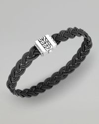 John Hardy | Sterling Silver Classic Chain Heritage Double Braided Bracelet With Black Leather | Lyst