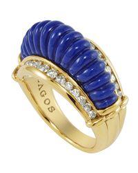 Lagos - Blue 18k Fluted Lapis Diamond Ring - Lyst