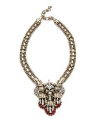 Lee Angel | Metallic Crest Pendant Statement Necklace | Lyst