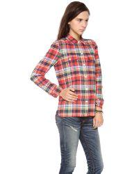 Madewell | Red Flannel Oversized Ex-boyfriend Shirt In Carl Plaid | Lyst
