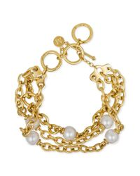 Majorica - Metallic Goldtone Stainless Steel Chain and Pearl Bracelet 10mm - Lyst