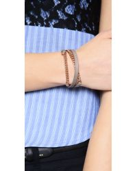 Marc By Marc Jacobs | Brown Triple Wrap Leather Chain Bracelet | Lyst